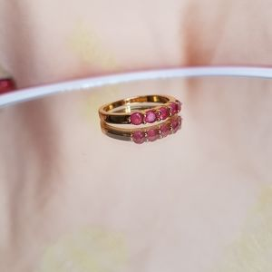 Jewelry - Gold tone pink tourmaline band.